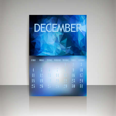 chronological: Geometrical polygonal triangles and blurred backgrounds 2016 calendar design for december