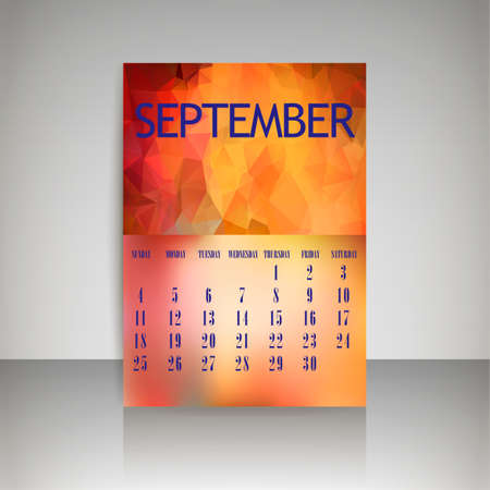 chronological: Geometrical polygonal triangles and blurred backgrounds 2016 calendar design for september