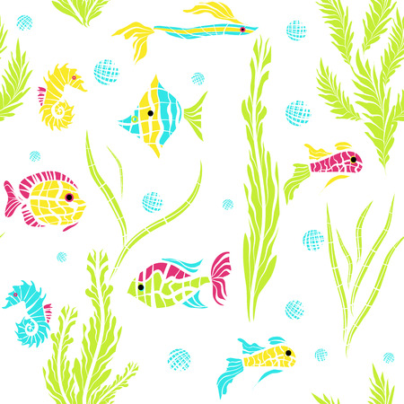 ocean fish: Seamless kids ocean fish illustration background pattern in vector