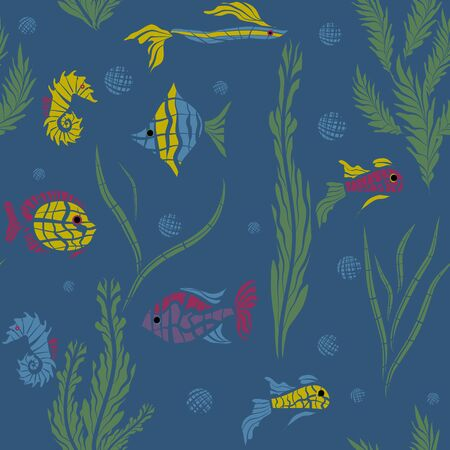 ocean fish: Seamless kids ocean fish illustration mosaic background pattern in vector Illustration