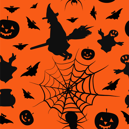 boiler: Halloween card seamless pattern background with witch, pumpkin, bat, boiler, spyder, web and ghost
