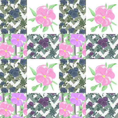 patchwork: Patchwork seamless floral pattern ornament striped background Stock Photo