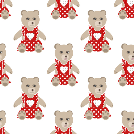 clover face: Illustration of seamless pattern with colorful toys bears teddy background