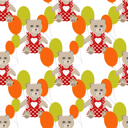 clover face: Illustration of seamless pattern with colorful toys bears teddy white background