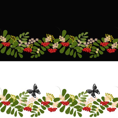 rowanberry: Seamless background pattern with colorful rowanberry on black and white background banner