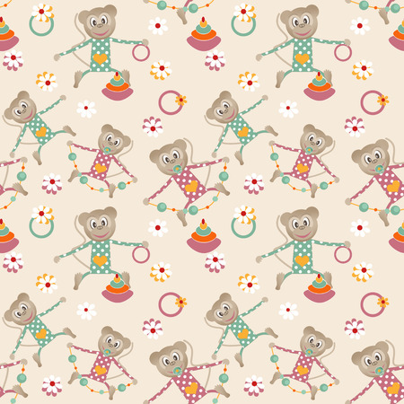 clover face: Illustration of seamless pattern with colorful toys monkey beige background