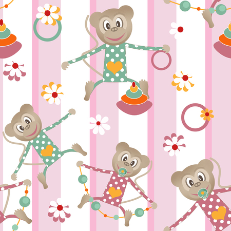 clover face: Illustration of seamless pattern with colorful toys monkey striped background
