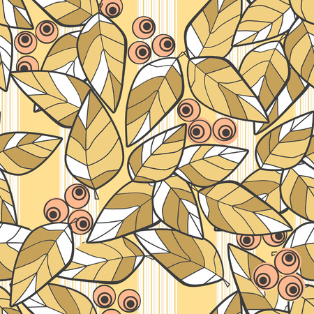 brown pattern: Seamless pattern brown wild berries branch leaves retro texture background