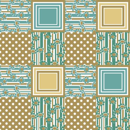 seamless pattern floral: Patchwork seamless pattern floral cartoon kids ornament background