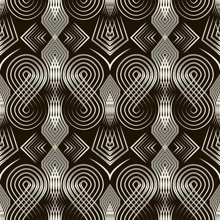 古美術品: シームレスなアンティーク アールデコ パターンの飾り。幾何学的なスタイリッシュな背景。反復テクスチャをベクトルします。  イラスト・ベクター素材