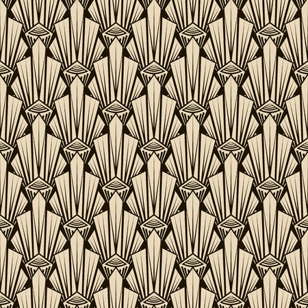 Seamless antique pattern ornament. Geometric art deco stylish background. Vector repeating texture in monochrome colors