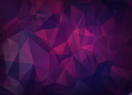 Abstract vector background of triangles polygon wallpaper. Web design in bright pink purple colors Çizim