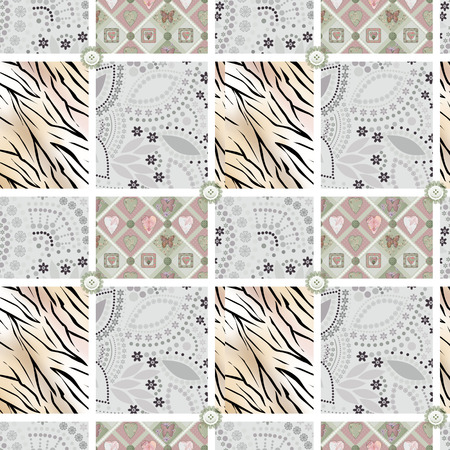tiger skin: Patchwork seamless pattern ornament ornamental and tiger skin design background