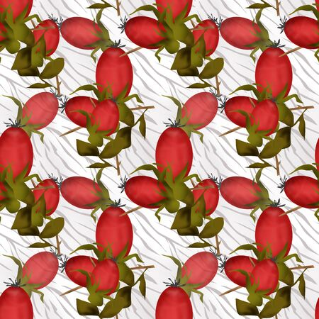 posterity: Seamless floral pattern with berry of dog-rose on white background