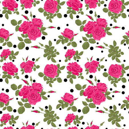 pink and black: Seamless flowers of pink roses pattern with black dots, circles on white background