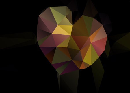 inlay: Abstract vector background with heart of triangles polygon wallpaper. Web design in bright colors. Valentines day, with love
