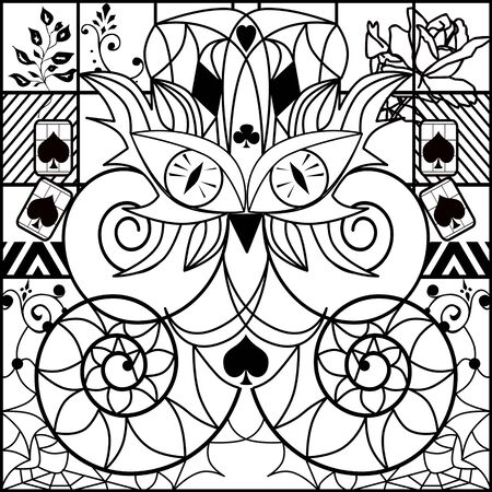 ornamental elements: Coloring page book with decorative ornamental elements illustration Stock Photo