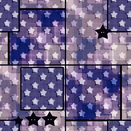 decoratively: Abstract blue stars grunge geometric retro seamless pattern background texture Stock Photo
