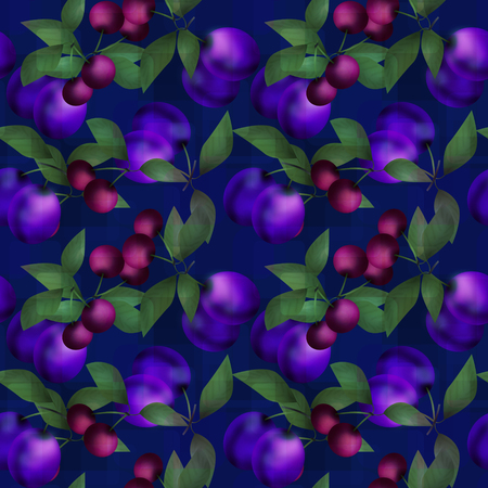 plums: Berries plums and cherries seamless pattern design texture navy background