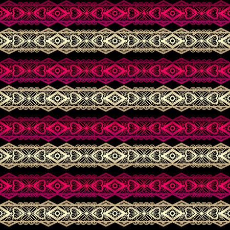 pink flower: Golden and red seamless lace ribbon trim pattern on black background Stock Photo