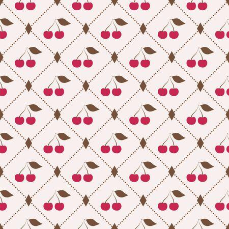 tasteful: Seamless pattern with retro cherries on light background