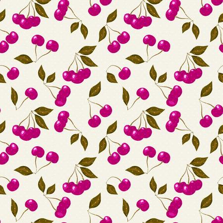 tasteful: Seamless pattern with cherries on light beige background