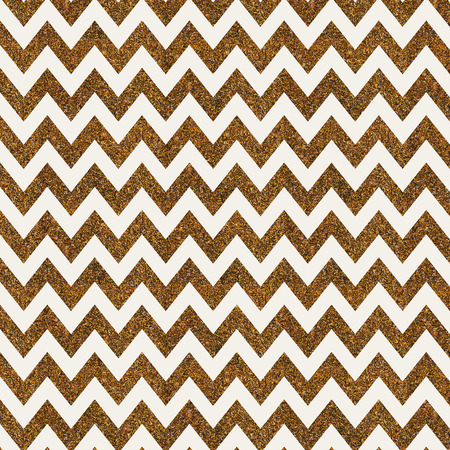 gold textured background: Pattern with gold glitter textured chevron print on white background. Stock Photo