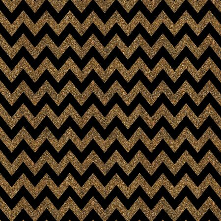 gold textured background: Pattern with gold glitter textured chevron print on black background.