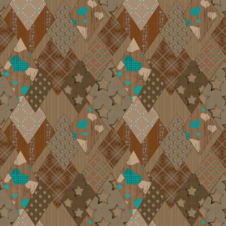 patchwork pattern: Seamless brown patchwork pattern rhombus background Stock Photo