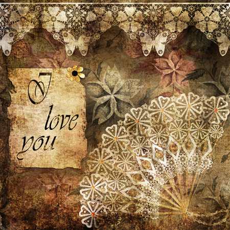 latter: Romantic latter with text I love you grunge vintage effect valentines day
