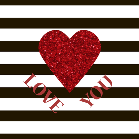 glister: LOVE YOU Valentine vector card. Red glitter heart and black stripes congratulation card for sweetheart. Valentines Day typography banner. Valentines day shiny greeting card with sparkles.