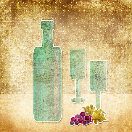 glassful: Bottle of wine, wineglass and grape vintage old retro grunge background