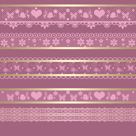 ribbon background: Seamless lace lacy ribbon pattern washi tapes on retro pink background texture