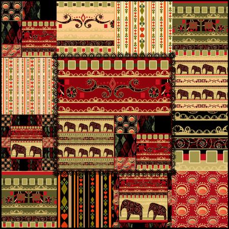 indische muster: Patchwork nahtlose afrikanischen Muster Hintergrund