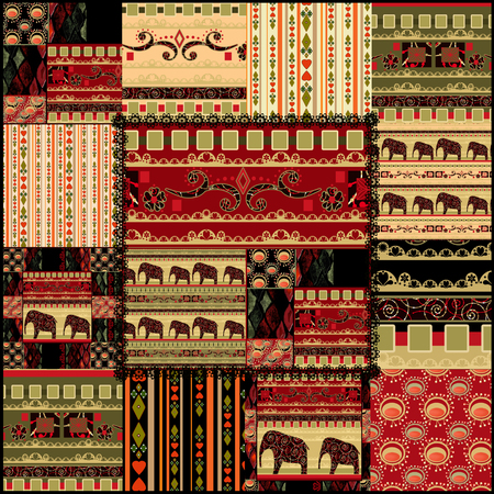 african ethnicity: Patchwork seamless african pattern background
