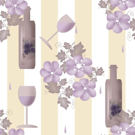 stemware: Seamless floral pattern with bottles of wine and glasses on striped background