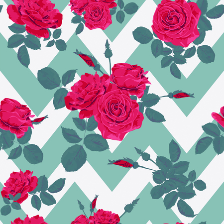 zig: Seamless flower red roses pattern with horizontal zig zag turquoise white
