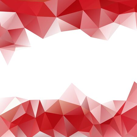bunner: Vector background of triangles polygon Valentines day design. Web design in red colors frame border