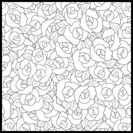 Dibujo Para Colorear Libro Para Adultos. Ilustración Floral Blanco ...
