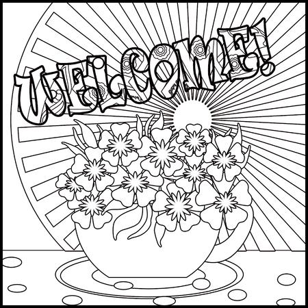 Tee-Hintergrund Mit Cup Und Blumen. Muster Für Menü, Tapeten, Muster ...