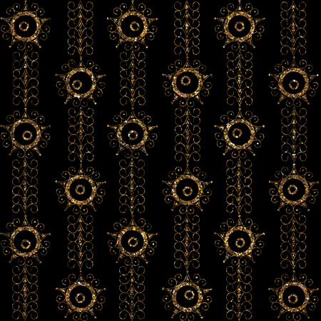 chines: Geometric ornament gold seamless pattern. Modern art deco stylish texture. Gold trendy glitter print on black background
