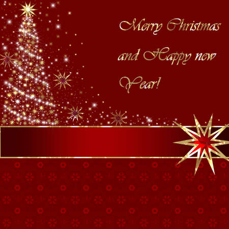 christmas design element: Merry Christmas and Happy New Year greeting card on red background