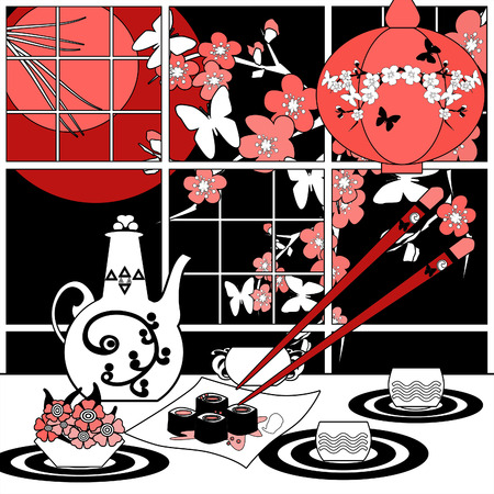 food shop: Sushi menu card abstract illustration with sakura and butterfly