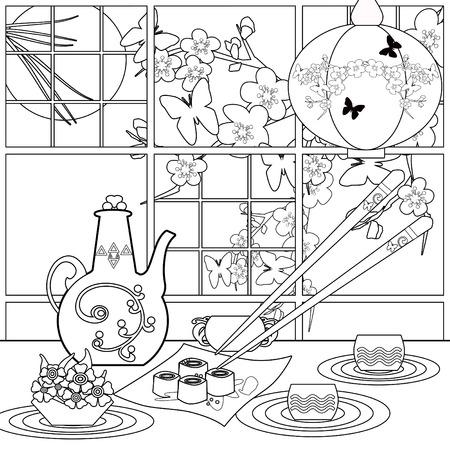 Arrière-plan avec des sushis et des fleurs. Motif pour le menu, papier peint, motifs de remplissage, des livres de coloriage pour les enfants et les adultes. Noir et blanc Banque d'images - 52330876
