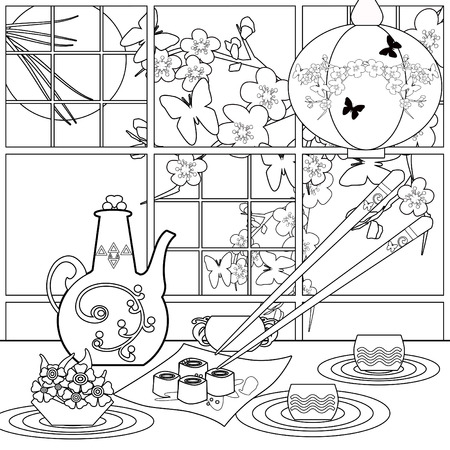 Background with sushi and flowers. Pattern for menu, wallpaper, pattern fills, coloring books for kids and adults. Black and white
