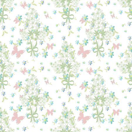 butterfly background: Butterfly background floral seamless pattern