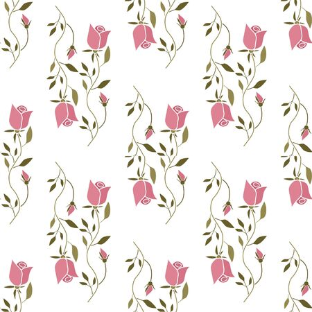 Floral seamless simple pattern style, cartoon cute roses flowers on white background