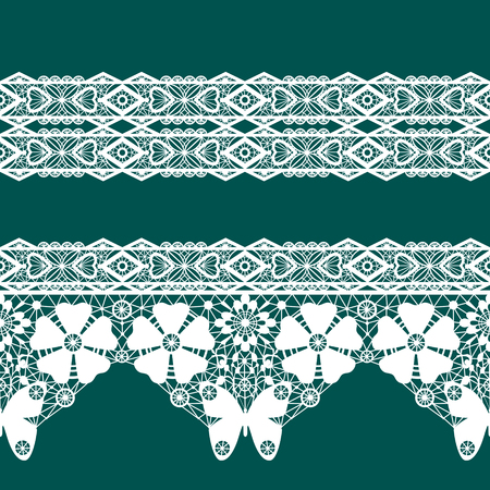 tights: White seamless lace pattern on green background