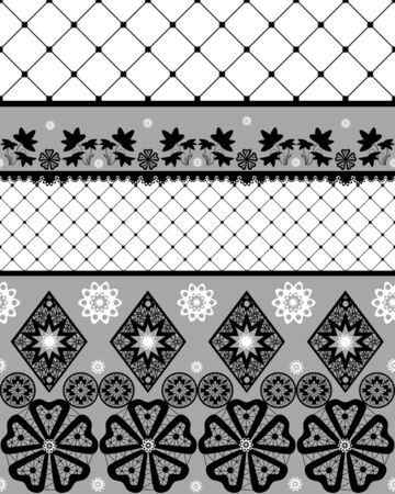 fishnet: Black seamless lace pattern with fishnet on white background