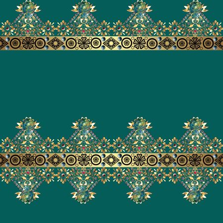 eastern: Golden seamless eastern lace pattern on turquoise background Stock Photo